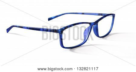 blue spectacles eyeglasses isolated on white background