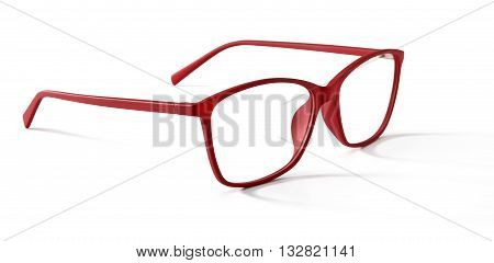 red spectacles eyeglasses isolated on white background