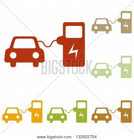 Electric car battery charging sign. Colorful autumn set of icons.