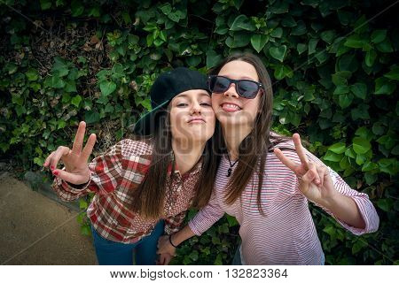 beautiful stylish girls were photographed in park on walk
