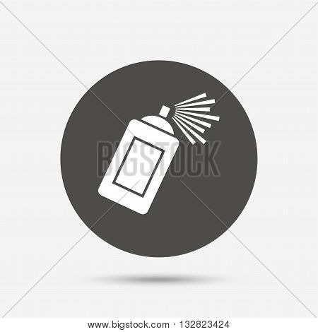 Graffiti spray can sign icon. Aerosol paint symbol. Gray circle button with icon. Vector