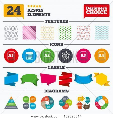 Banner tags, stickers and chart graph. Paper size standard icons. Document symbols. A1, A2, A3 and A4 page signs. Linear patterns and textures.