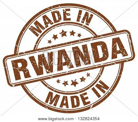 made in Rwanda brown round vintage stamp.Rwanda stamp.Rwanda seal.Rwanda tag.Rwanda.Rwanda sign.Rwanda.Rwanda label.stamp.made.in.made in.