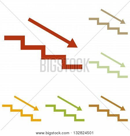 Stair down with arrow. Colorful autumn set of icons.