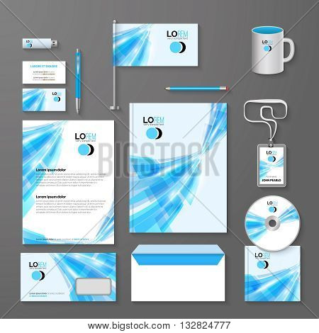 Abstract blue lines corporate identity template. Vector company style for brandbook and guideline.