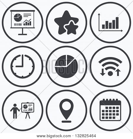 Clock, wifi and stars icons. Diagram graph Pie chart icon. Presentation billboard symbol. Supply and demand. Man standing with pointer. Calendar symbol.