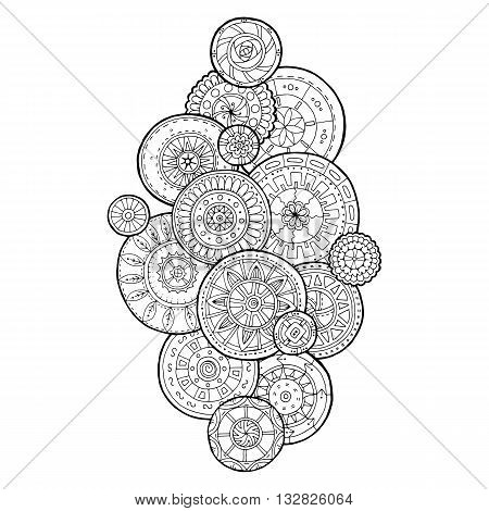 Summer doodle flower circles ornament. Hand drawn art mandalas. Made by trace from sketch. Black and white ethnic background. Zentangle pattern for coloring book for adults and kids.