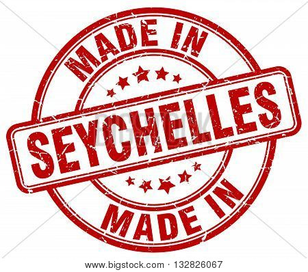 made in Seychelles red round vintage stamp.Seychelles stamp.Seychelles seal.Seychelles tag.Seychelles.Seychelles sign.Seychelles.Seychelles label.stamp.made.in.made in.
