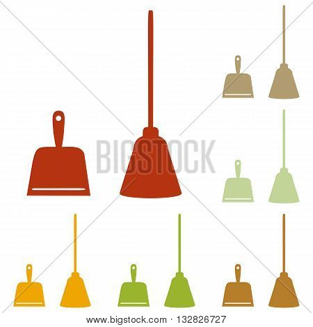 Dustpan vector sign. Scoop for cleaning garbage housework dustpan equipment. Colorful autumn set of icons.