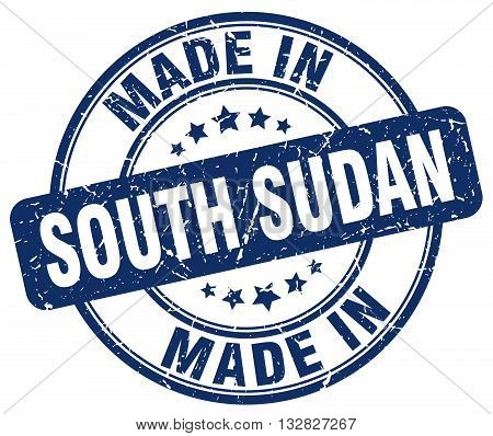 made in South Sudan blue round vintage stamp.South Sudan stamp.South Sudan seal.South Sudan tag.South Sudan.South Sudan sign.South.Sudan.South Sudan label.stamp.made.in.made in.