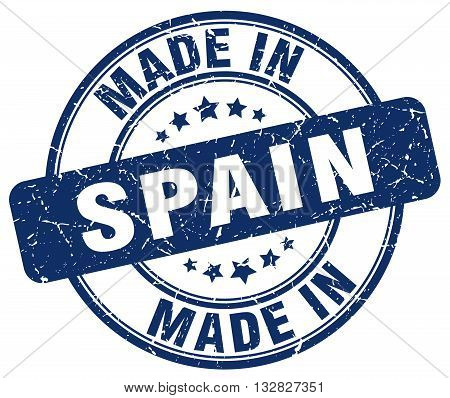 made in Spain blue round vintage stamp.Spain stamp.Spain seal.Spain tag.Spain.Spain sign.Spain.Spain label.stamp.made.in.made in.