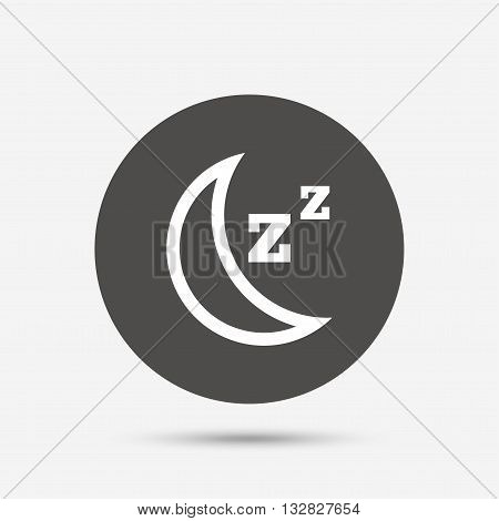 Sleep sign icon. Moon with zzz button. Standby. Gray circle button with icon. Vector
