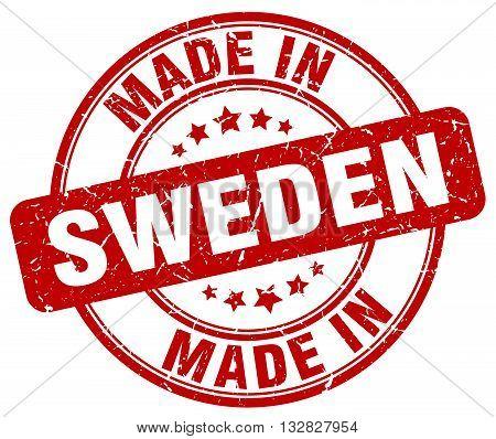 made in Sweden red round vintage stamp.Sweden stamp.Sweden seal.Sweden tag.Sweden.Sweden sign.Sweden.Sweden label.stamp.made.in.made in.