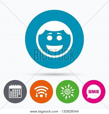Wifi, Sms and calendar icons. Smile face sign icon. Happy smiley with hairstyle chat symbol. Go to web globe.