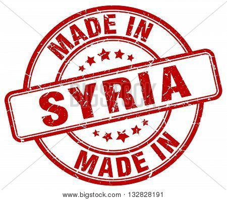 made in Syria red round vintage stamp.Syria stamp.Syria seal.Syria tag.Syria.Syria sign.Syria.Syria label.stamp.made.in.made in.