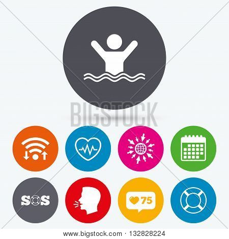 Wifi, like counter and calendar icons. SOS lifebuoy icon. Heartbeat cardiogram symbol. Swimming sign. Man drowns. Human talk, go to web.