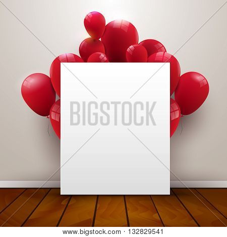 Template poster in interior background with red balloons on the wooden floor, 3d vector illustration.