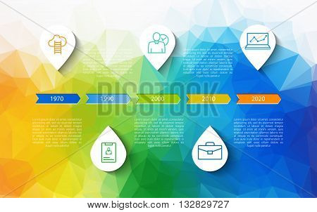 Infographic timeline design concept - template with points and outline icons. Idea to display information, ranking and statistics with orginal and modern business style.