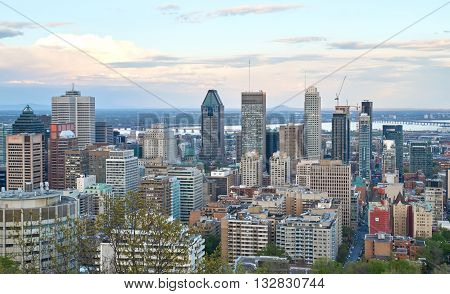 MONTREAL CANADA - MAY 27 2016 : Scenic view of spring downtime Montreal.