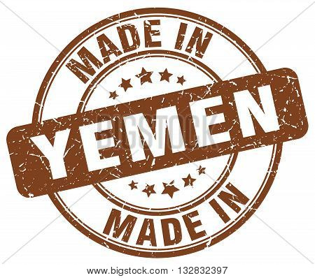 made in Yemen brown round vintage stamp.Yemen stamp.Yemen seal.Yemen tag.Yemen.Yemen sign.Yemen.Yemen label.stamp.made.in.made in.