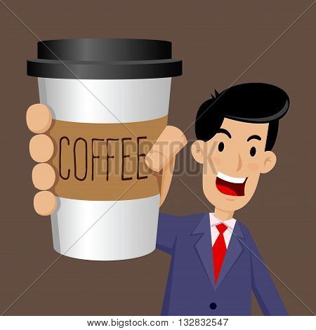 Vector stock of businessman holding a cup of coffee to go