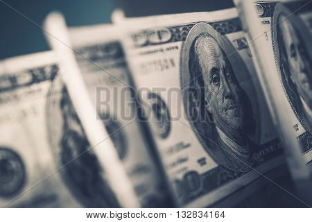American Dollars in Focus. Benjamin Franklin One Hundred Dollars Banknotes. Dollar Trading.