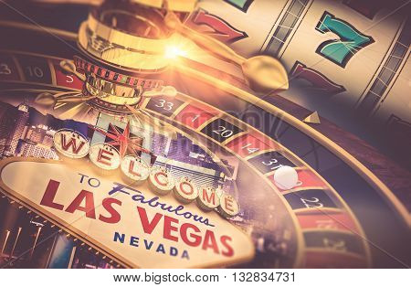Las Vegas Gambling Concept. Roulette Slot Machine and Las Vegas Welcoming Strip Sign. Playing in a Casino Conceptual Illustration. #D rendering