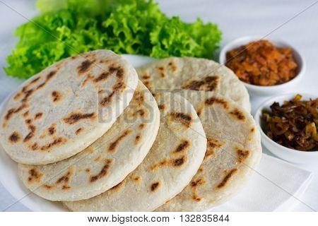 Pol roti with seeni sambal and lunu miris
