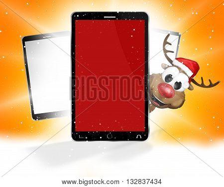Front Phone Reindeer Santa Claus Christmas Design 3D
