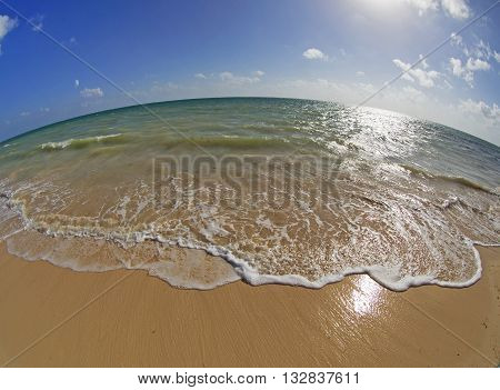 Caribbean seascape taken with fish eye lens