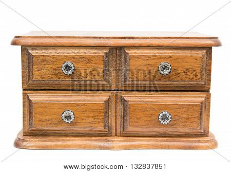 Wooden chest with drawers isolated on white