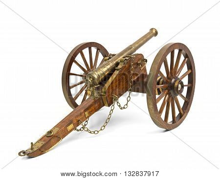 Antique cannon isolated over a white background