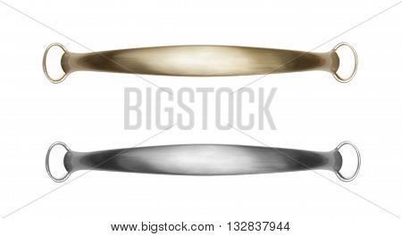 Brass and silver furniture handle isolated on white