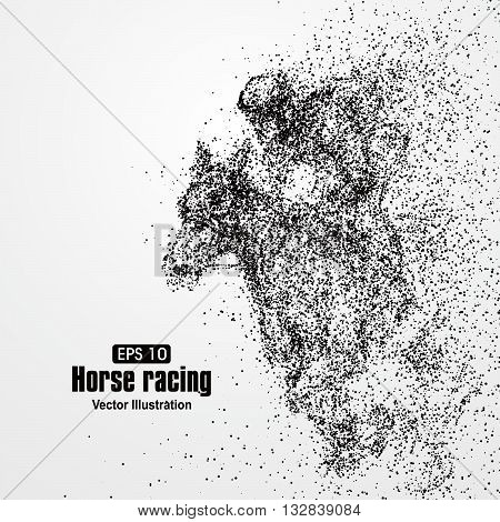 Horse racing particle divergent composition, vector illustration.