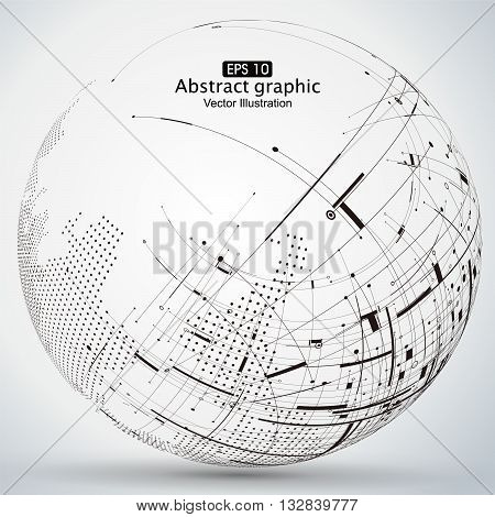 curve constructed the sphere wireframe technological sense, abstract illustration.
