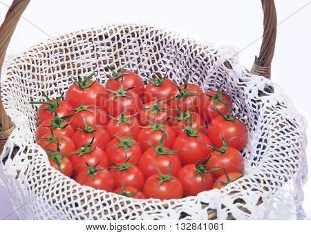 BASKET FULL OF CHERRY TOMATOES