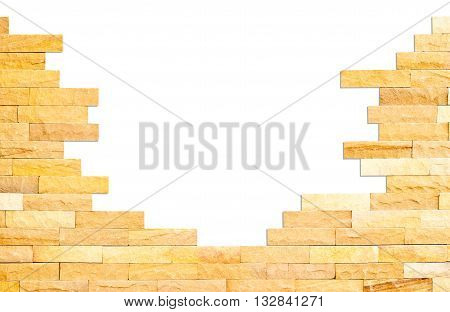 Crashed brick wall texture on white background with clipping path