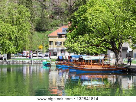 BLED, SLOVENIA - APRIL 30, 2013: View of Lake Bled on April 30, 2013 in Bled, Slovenia. Located at the Julian Alps, Lake Bled is a major tourist attraction in Slovenia.