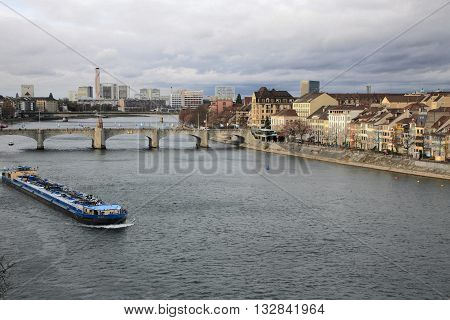 BASEL, SWITZERLAND- Nov 17, 2015: Basel cityscape on Nov 17, 2015 in Basel, Switzerland. It is a city on the Rhine River in northwest Switzerland, close to the border with France.