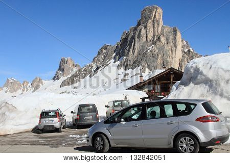 DOLOMITES, ITALY - APRIL 7, 2014: Passo Giau on April 7, 2014 in Dolomites, Italy. With an elevation of 2236m, this high alpine mountain road is a landmark scenic route on Dolomites Alps.