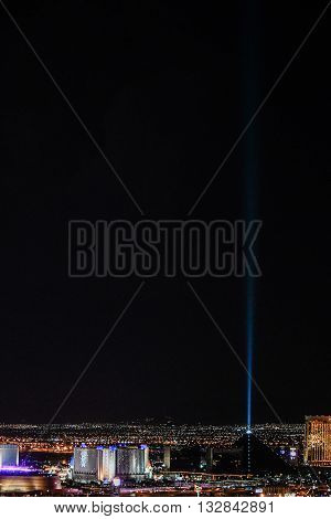 MAY 30, 2016 LAS VEGAS, NV -- Night views from The Palms Casino and Resort of the Luxor, Mandalay Bay, and Excalibur hotels and casinos on the Las Vegas strip -- LAS VEGAS, NV MAY 30, 2016