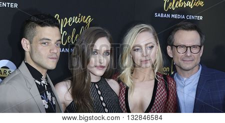 LOS ANGELES - JUN 2:  Rami Malek, Carly Chaikin, Portia Doubleday, Christian Slater at the Television Academy 70th Anniversary Gala at the Saban Theater on June 2, 2016 in North Hollywood, CA
