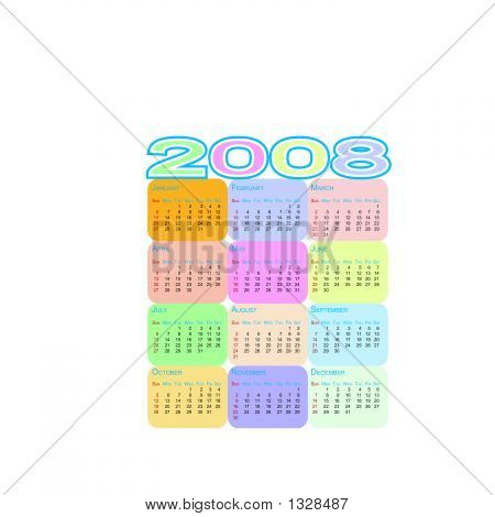 Colorful Calendar 2008, Totally Scalable & Editable - Vector Illustration