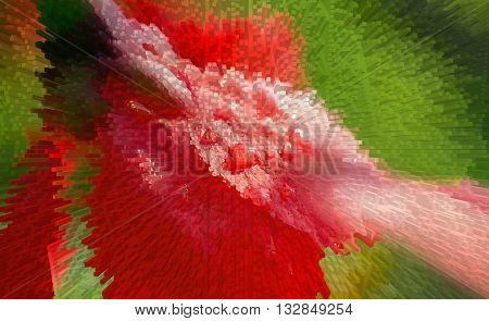 red flower close-up on a green background with drops of dew Extrusion squeezing squeezing