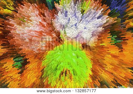 Color texture background abstract color extrusion blocks And pyramids Abstract colorful 3D extrusion background flowers floral pattern background for greeting cards and printing