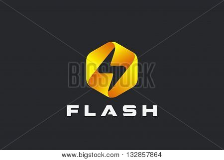 Flash Logo Vector Lighting Bolt Thunder Power Fast Speed Icon