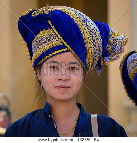 BAGAN MYANMAR - JANUARY 18 2016: Unidentified Burmese woman in the national costume. The local people are hospitable and friendly to tourists