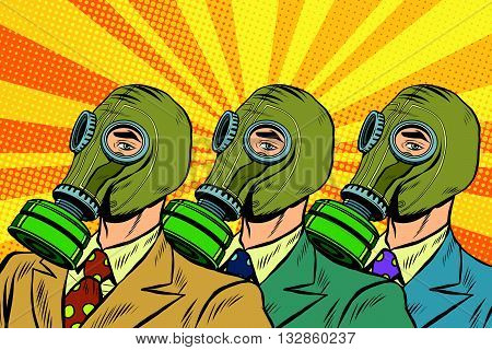 People in gas masks the Sots art style pop art retro vector. Pop art ecology air pollution