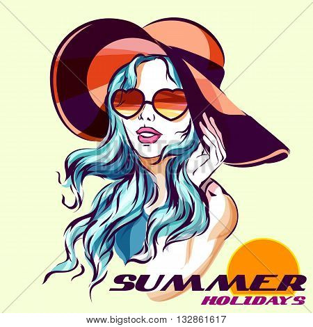 Girl in Sunglasses Beach style and summer logo. Beach Hat and sunglasses love shape. Isolated on white colorful sketch illustration with summer holidays logo.