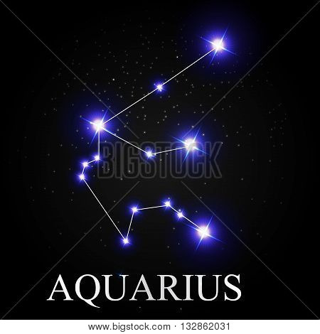 Aquarius Zodiac Sign with Beautiful Bright Stars on the Background of Cosmic Sky Vector Illustration EPS10